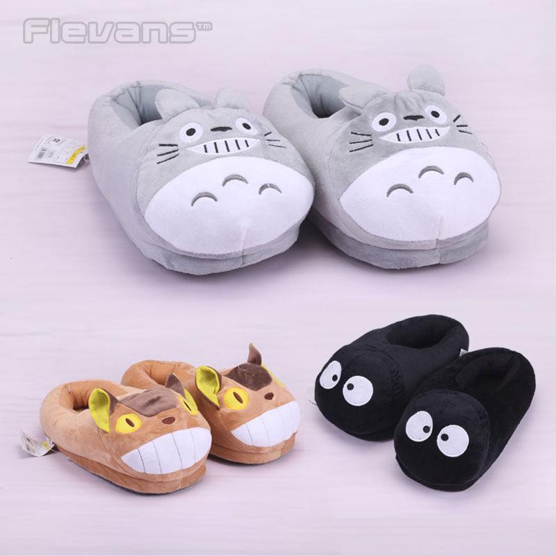 My Neighbor Totoro Totoro Cat Buss Fairydust Plush Toys Dolls Cartoon Home House Winter Slippers for Children Women Men(China)