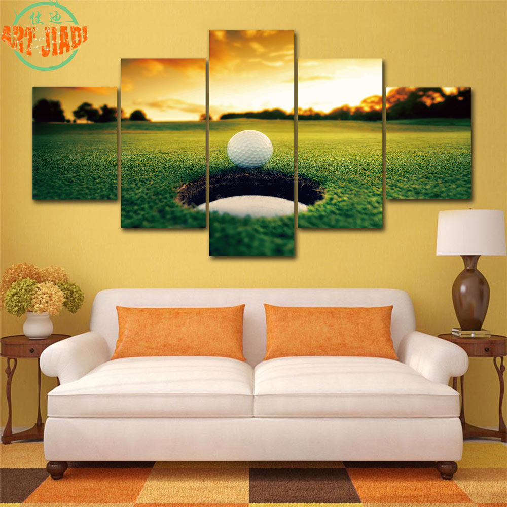 4 Piece/set or 5 Piece/set Canvas Art GOLF BALL IN THE HOLE HD ...