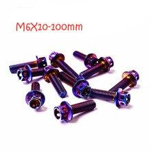 Bolts Screws Motorcycle-Modified-Flange-Head Rainbow-Color6pcs Titanium 6pcs/Lot Hexagonal