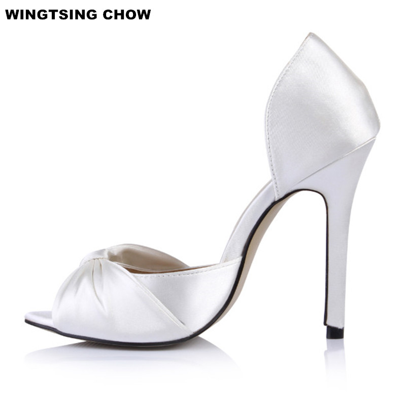 Sweet Butterfly Knot Dress Women Shoes Fashion Silk Open Toes Women Sandals High Heel Sexy Ladies Shoes Elegant Big Size 43 plus big size 34 43 sandals ladies platforms lady fashion dress shoes sexy high heel shoes women pumps a25