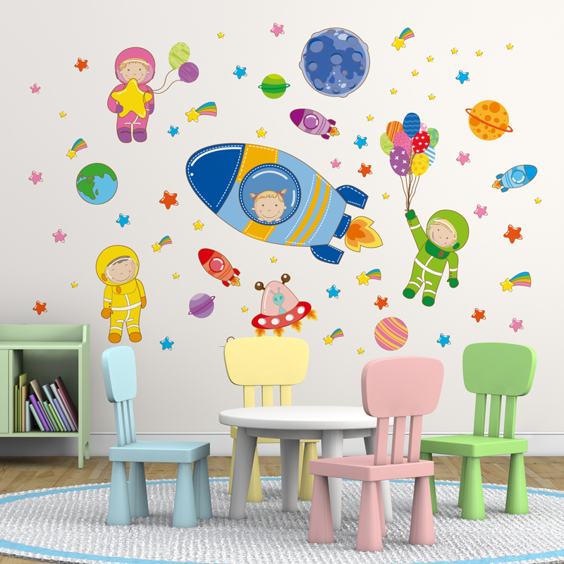 [shijuekongjian] Astronauts Outer Space Planets Wall Stickers DIY Cartoon Children Decals for Kids Rooms Baby Bedroom Decoration