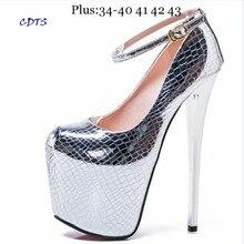 Crossdresser Plus:34-42 43 Spring 19/20cm thin high heels Female Shoes Gold/Sliver Patent Leather Platform Women Buckle Pumps