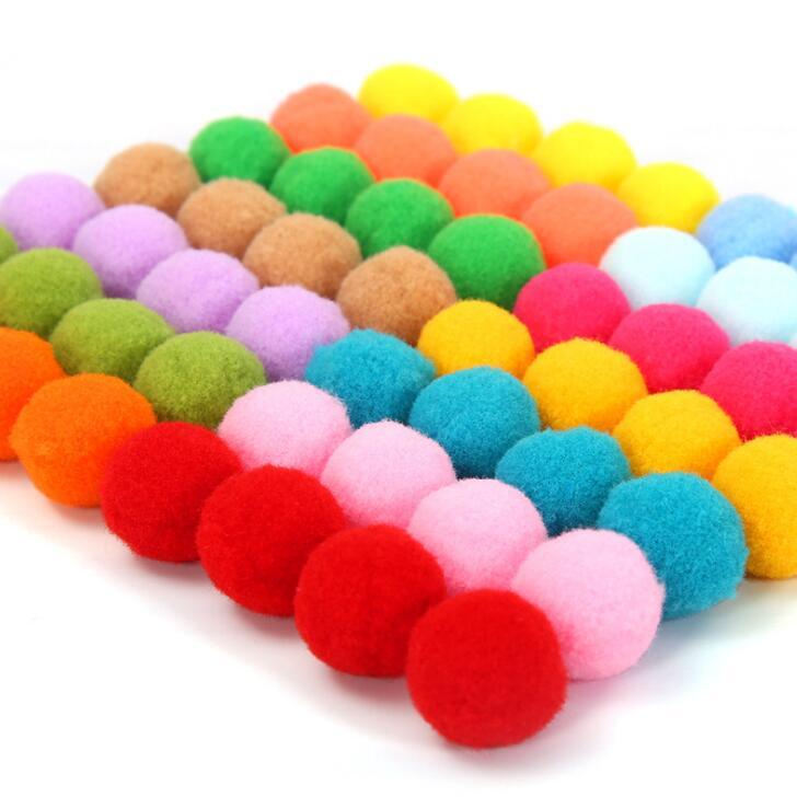 100pcs 15mm Tinsel Glitter Pom Poms Pompom Balls DIY Cat Toys Party Decoration