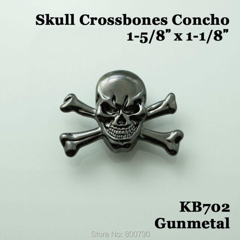 (KB702) 10pc 1-5 / 8 '' Western Concho Cowboy Dekor Schädel - Kunst, Handwerk und Nähen