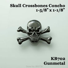 1-5/8'' Gunmetal Skull 10pc