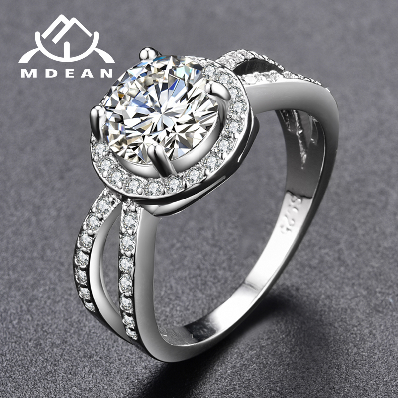 MDEAN Round Women Engagement Rings AAA Zircon White Gold Color wedding Rings For Women Jewelry Bague Accessories MSR319