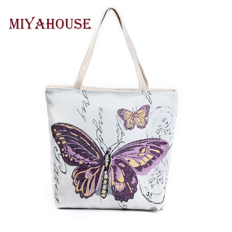 Miyahouse Butterfly Printed Shoulder Bag Lady Large Capacity Casual Tote Bags Women Daily Use Shopping Bag Female Canvas Handbag miyahouse cute cat printed beach bag women large capacity shopping bags vintage female single shoulder bag canvas ladies handbag