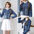 New 2016 Women Denim Jackets Tops Spring Summer Long Sleeve Fashion Blue Denim Coat Slim Jeans Jackets For Women Clothing
