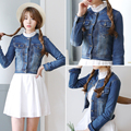 Novo 2016 Mulheres Denim Jackets Tops Primavera Verão de Manga Comprida Moda Casaco Azul Denim calças de Brim Magros Jaquetas Para As Mulheres Roupas
