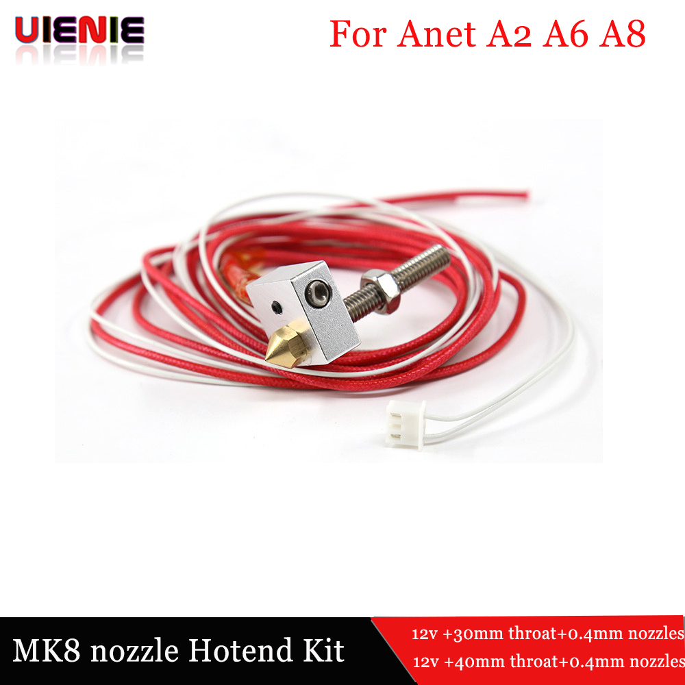 Assembled Extruder DIY Hot End kit 1.75mm 0.4mm Nozzle For Anet A2 A8 3D Printer