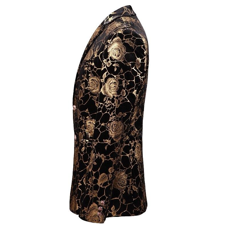 Golden Rose Pattern mens blazer casaco Ásia tamanho S 5XL Primavera e Outono Homens terno jaqueta de Manga Longa - 3