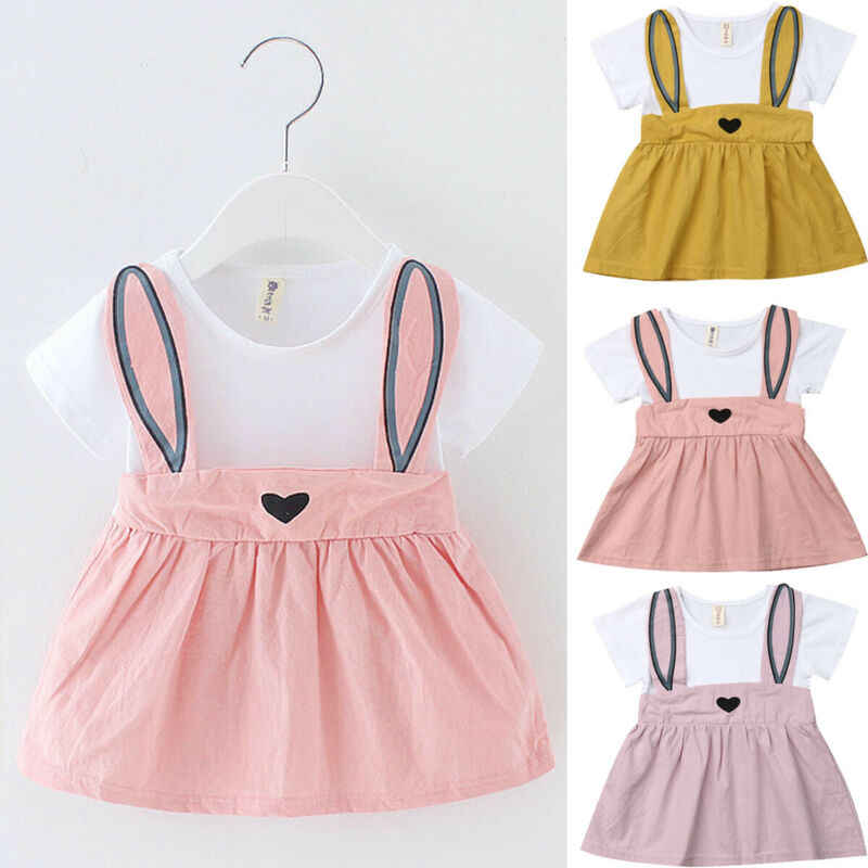 Summer Newborn Baby Girl Dress Short Sleeve Rabit Infantile Baby Dress Birthday Party Princess Dress Girls Clothes Eastera