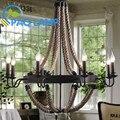 Vintage retro lustres lâmpadas de iluminação interior palaciana Cânhamo corda vela sala de estar LED bares de café Salão de luminária