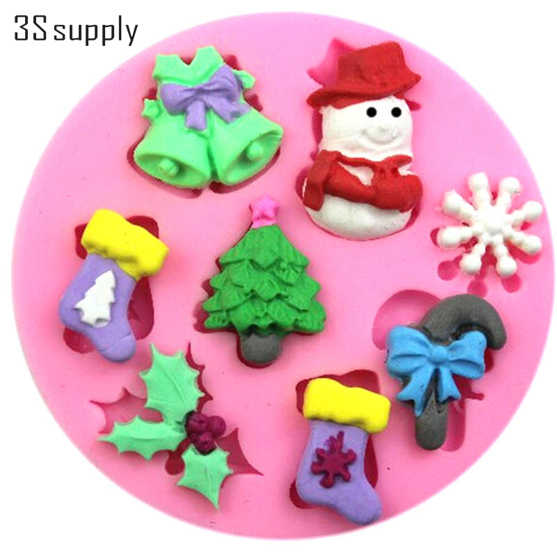 Easy DIY cake baking tools christmas fondant cake decorating tools silicone cake mold for christmas chocolate and confectionery