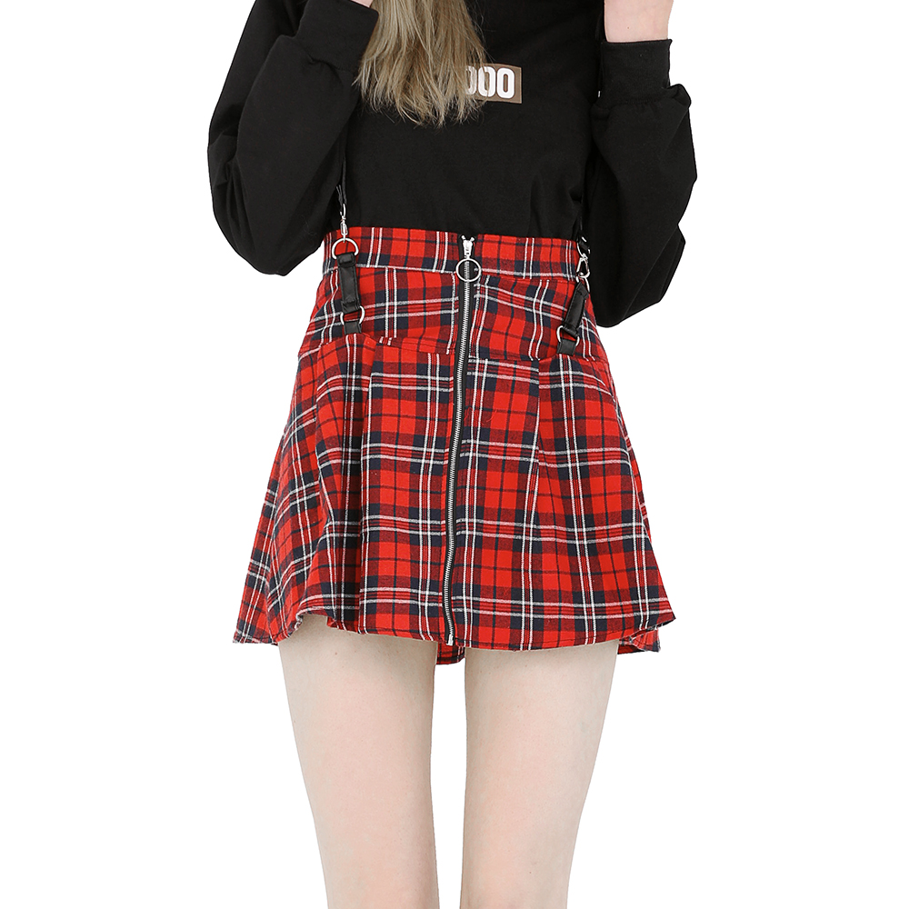 Women Red Plaid Mini Skirts with Gallus Old School Style Flared Short Skater Skirt Zippers A line Skirt