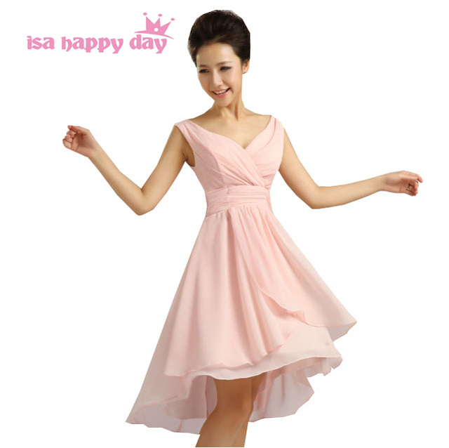 d3e456457edf7 girls formal gowns prom beautiful chiffon v neck high low pink dresses  short front elegant long back casual dress H3770