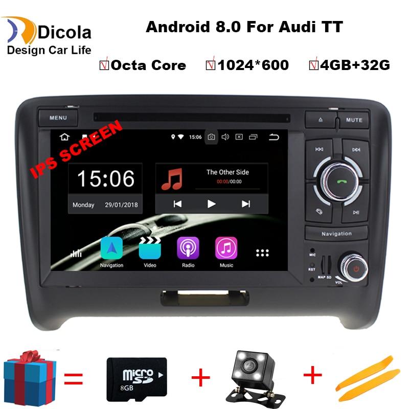 Android 8.0 Car Dvd Navi Player PER AUDI TT 2006-2014 multimedia audio stereo auto DVR supporto WIFI DAB OBD all in one