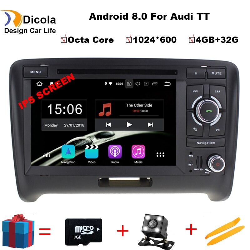 Android 8.0 Voiture Dvd Navi Lecteur POUR AUDI TT 2006-2014 audio multimédia auto stéréo soutien DVR WIFI DAB OBD tout en un