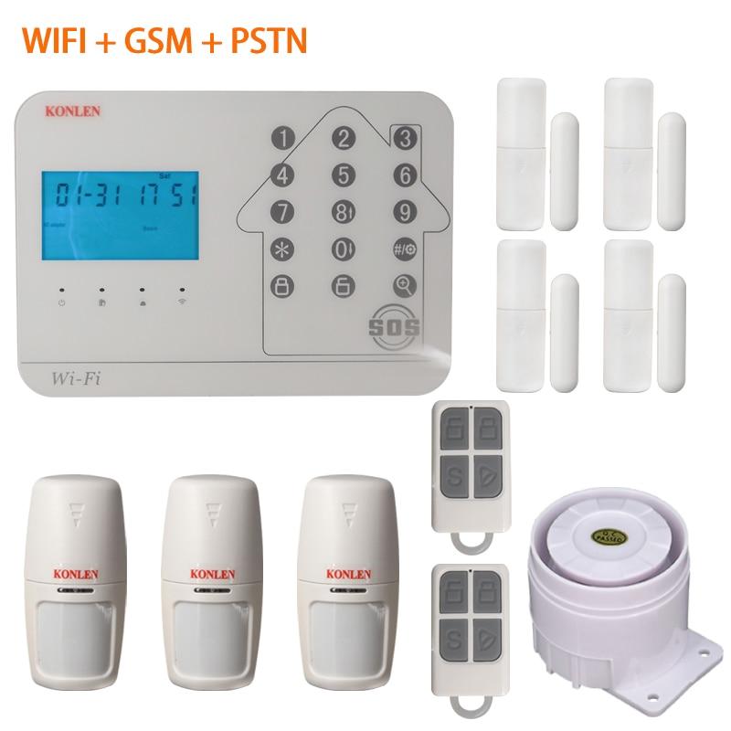 KONLEN GSM Wifi Alarm Systems Security Home Guard PSTN Wiring Wireless Smart House Burglar Alarme SMS