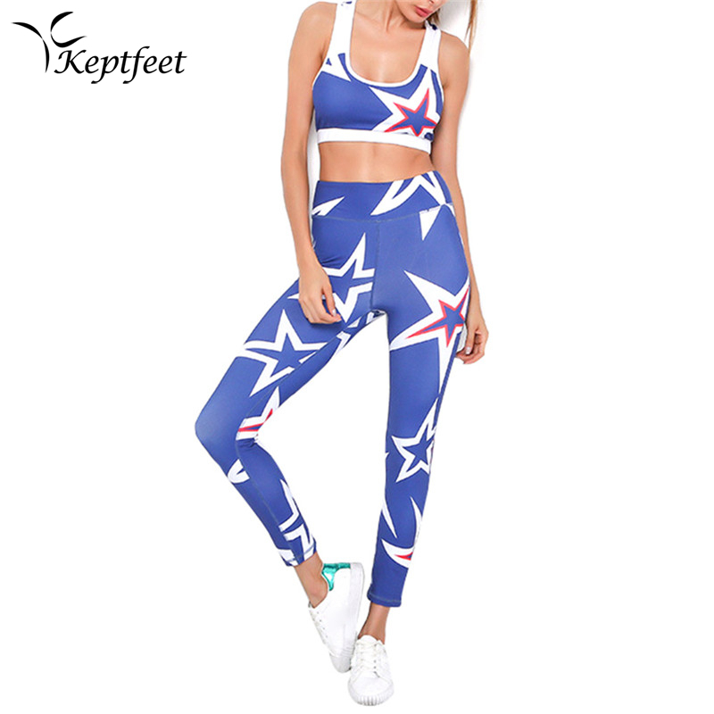2pcs Sport Yoga Set Women Gym Clothing Print Patchwork Fitness Suit Female Summer Running Sportswear Set Workout Clothes