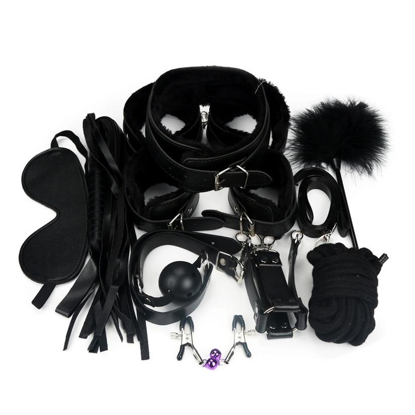 Buy Wonderful 10 Pcs BDSM Bondage Restraints Set Kit Ball Gag Cuff Whip Collar Fetish Sex Toys Jan 22
