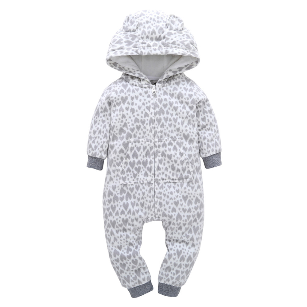 Infant Baby Boy Girl Thicker Heart Print Hooded Romper Jumpsuit Home Clothes winter jumpsuit for a boy girl baby rompers