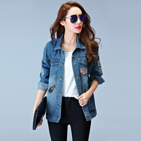 Women Denim Jackets Spring Long Section Casual Blue Slim Pockets Button Single Breasted Female Coat New
