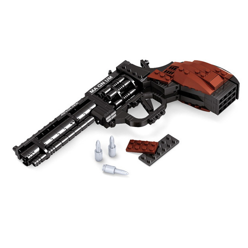 Ausini SWAT Magnum Revolver Pistol Power GUN Weapon Arms Model Assembled Toy Brick Building Blocks Weapon Toys For Children hellboy giant right hand anung un rama right hand of doom arms hellboy animated cosplay weapon resin collectible model toy w257