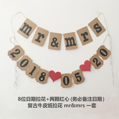 1 Set Customized Date Banner Wedding Photobooth Props Sign save the date Hanging Garland Birthday Party Deco Supply