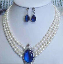 "hot Free shipping 3 rows white pearl sapphire pendant necklace earrings 17""-19"" set(China)"
