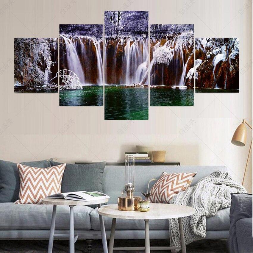 ③No Marcos 5 panel moderno cuadros decoracion Pond lienzo pintura ...