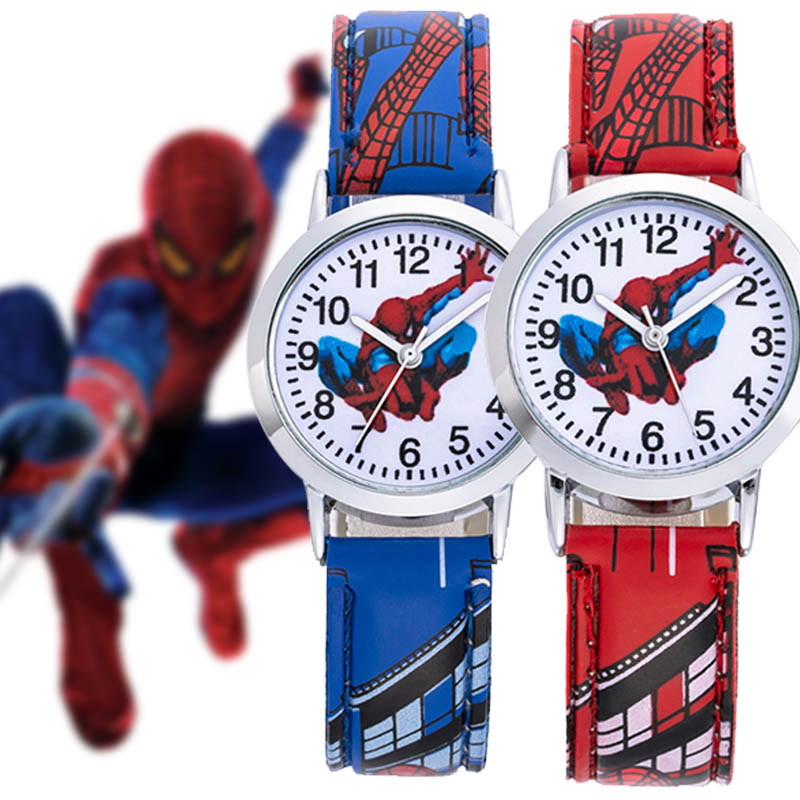 Cool Cartoon Children Watches Boys Girls Kids Toy Quartz Spiderman Sport Leather Wristwatch Kids Gifts Clock Reloj montre enfant