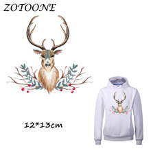 ZOTOONE Flower Deer Patches Iron on Transfers DIY Accessory Decoration Patch for Clothing Print T-shirt Bags Applique Clothes
