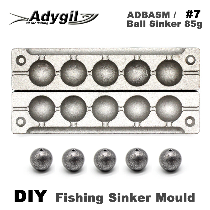 Adygil DIY Fishing Ball Sinker Mould ADBASM/#7 Ball Sinker 85g 6 Cavities