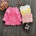 Moda Niños Niñas Bebés Infantil Bebe Princesa Del Arco Del Cordón prendas de Vestir Exteriores de la Rebeca de Manga Larga Capa de la Muchacha Niños Chaqueta Abrigos