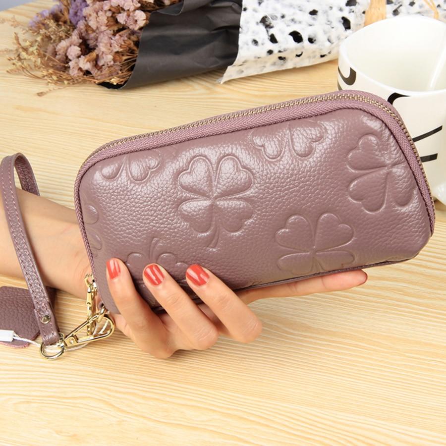2017 Women Wallets Brand Design High Quality Genuine Leather Wallet Female Zipper Fashion Dollar Price Purse