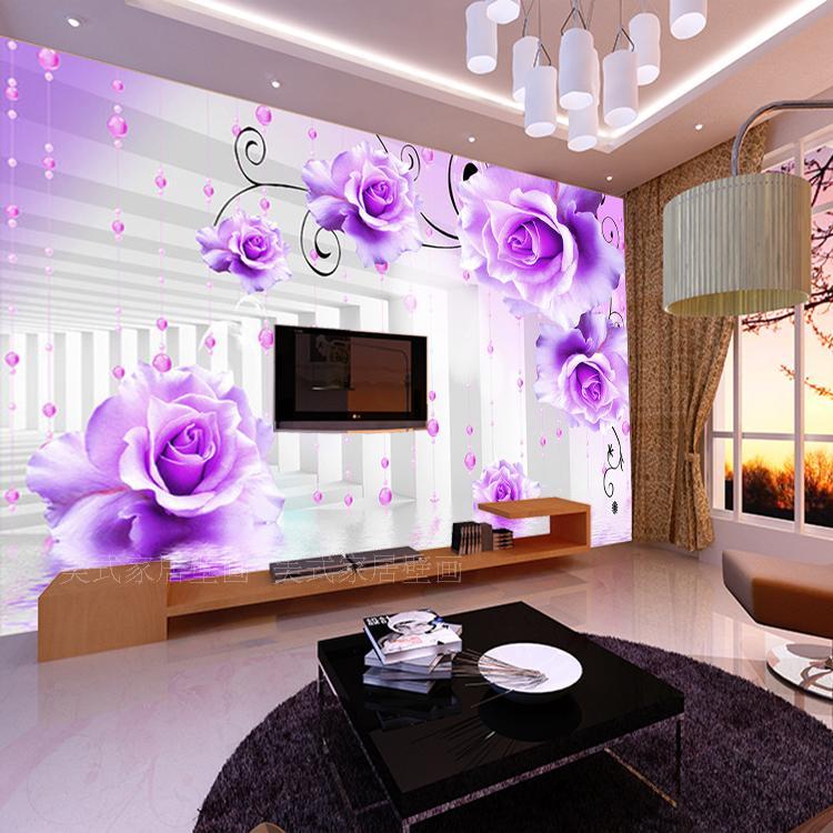 Freies Verschiffen Nach 3D Moderne Minimalistische Lila Blume Tapete Wandbild Wohnzimmer TV Hintergrund Schlafzimmer