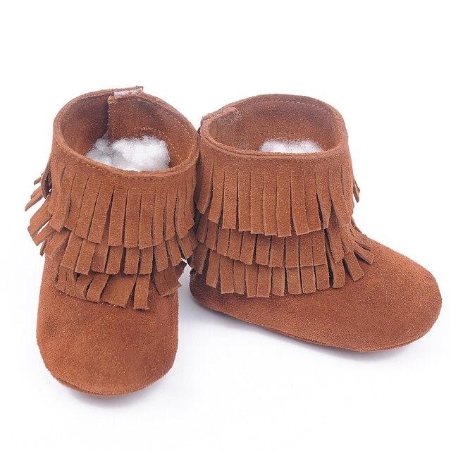 Новый 100% Натуральная Кожа Малыша замшевые сапоги Мокасины Три слоя кисточкой Детские мягкие Ботинки Первые Ходоки Новорожденных девочек сапоги