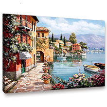 RIHE DIY Seascape Painting By Numbers Boat Scenery Oil On Canvas Home Decor Picture Acrylic Paint Wall Art Living Room