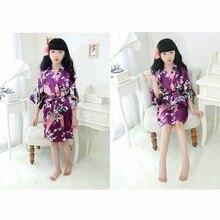 Купить с кэшбэком Puseky Kid Silk floral Robe Kimono Robes Bridesmaid Flower Girl Dress Bathrobe Sleepwear Night Gown Sleepwear Homewear Pajamas