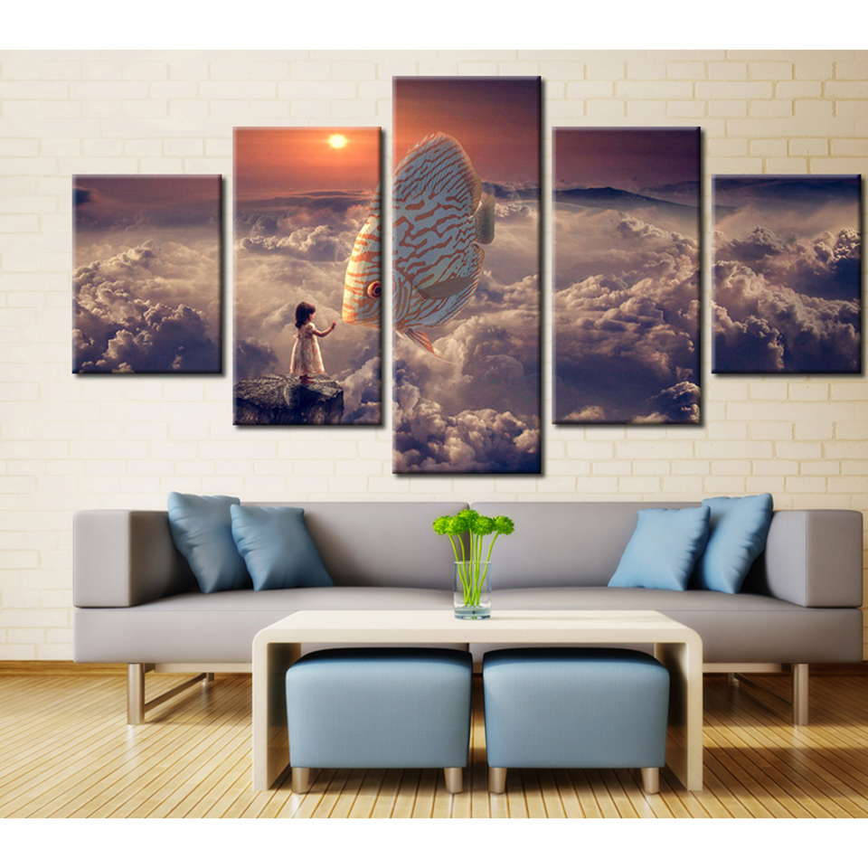 compare prices on fish framed art online shoppingbuy low price  - modern painting frame art poster wall picture  panel fish clouds landscapehome decoration print on canvas for living room