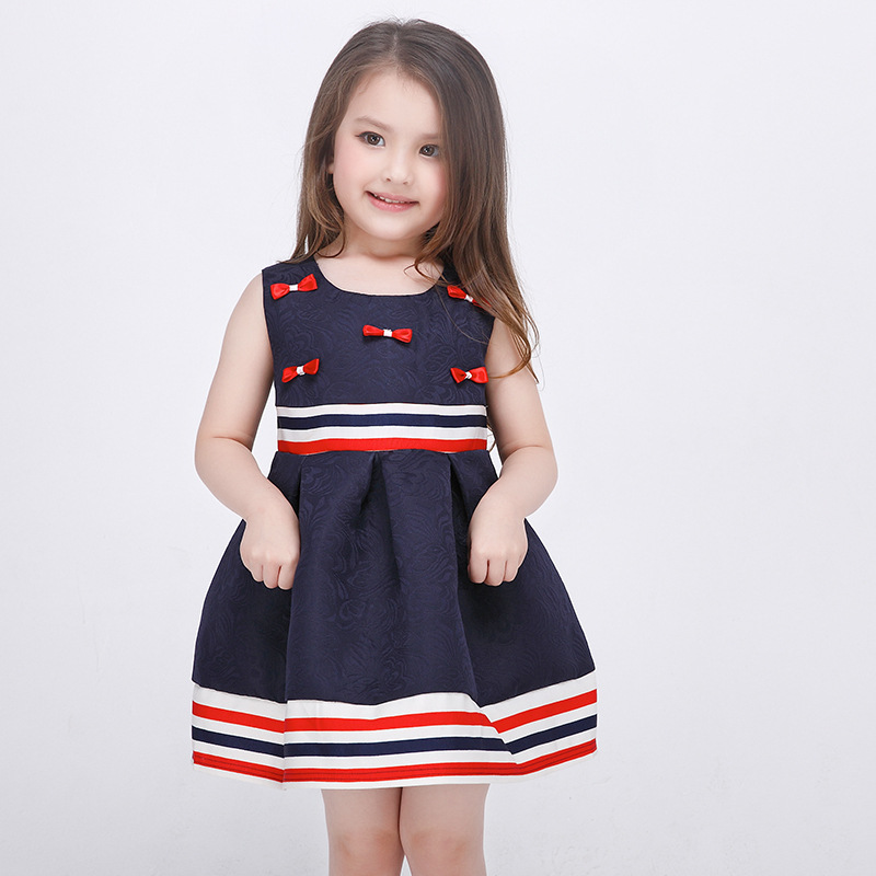 fa3f5fe5b938 Girls Spring and Summer Striped Dress Bow Deco Sleeveless Princess Ball Gown  Kids Clothing Children Dress Navy Color-in Dresses from Mother & Kids on ...
