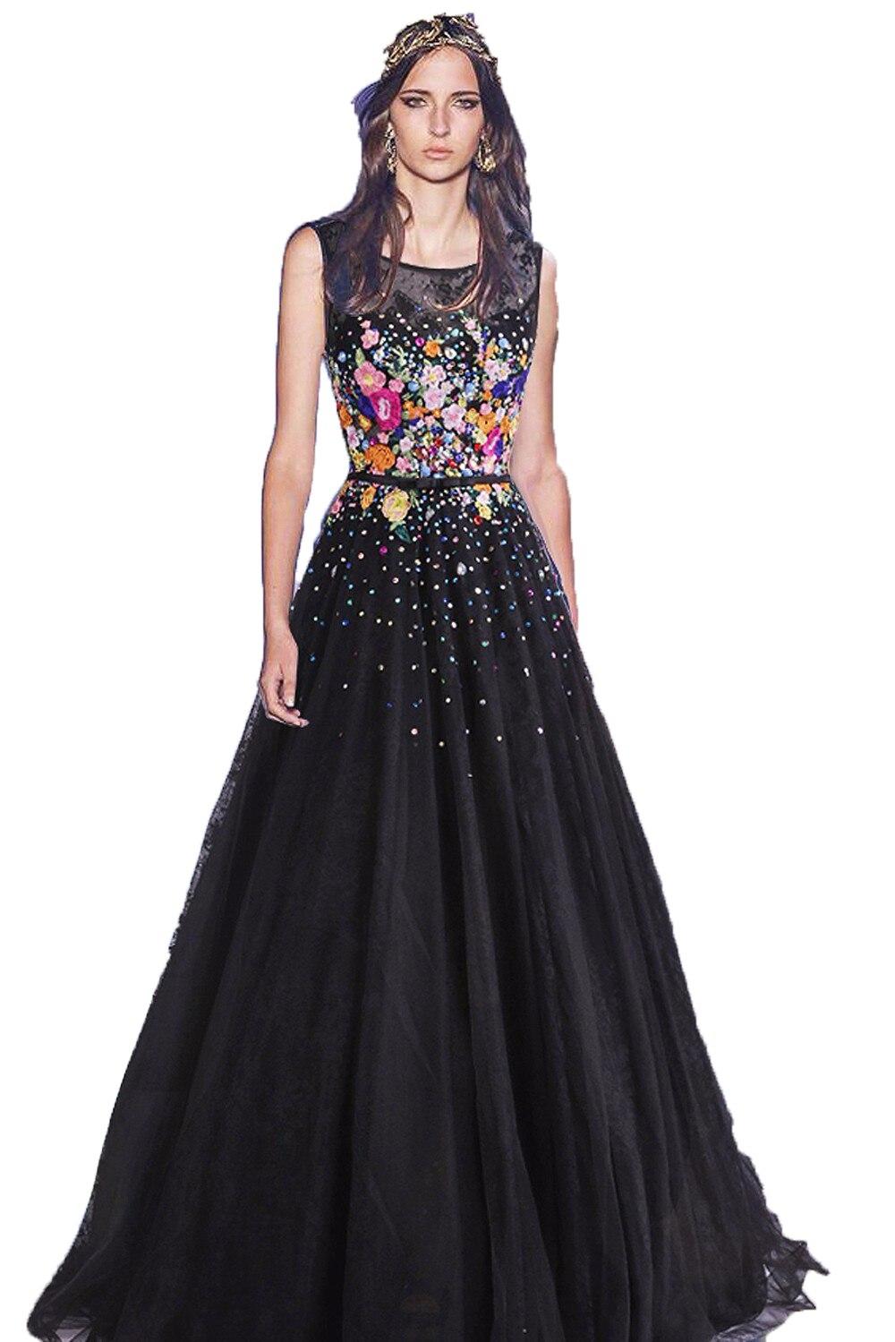 Black Plus Size Long Evening Dresses