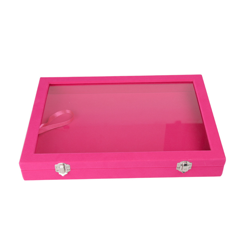 Fushia Velvet Earrings Ring Bracelets Organizer Ear Studs Jewelry Glass Display Showcase Plate 35*24*4.5cm(L*W*H)