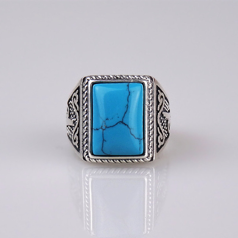 Natural Turquoise Sterling Silver Ring For Men With Square ...
