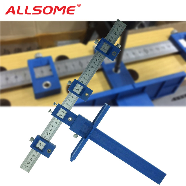 Allsome Drill Guide Sleeve Cabinet Hardware Jig Drawer Pull Wood Drilling Dowelling Hole Saw Master System Ht1436