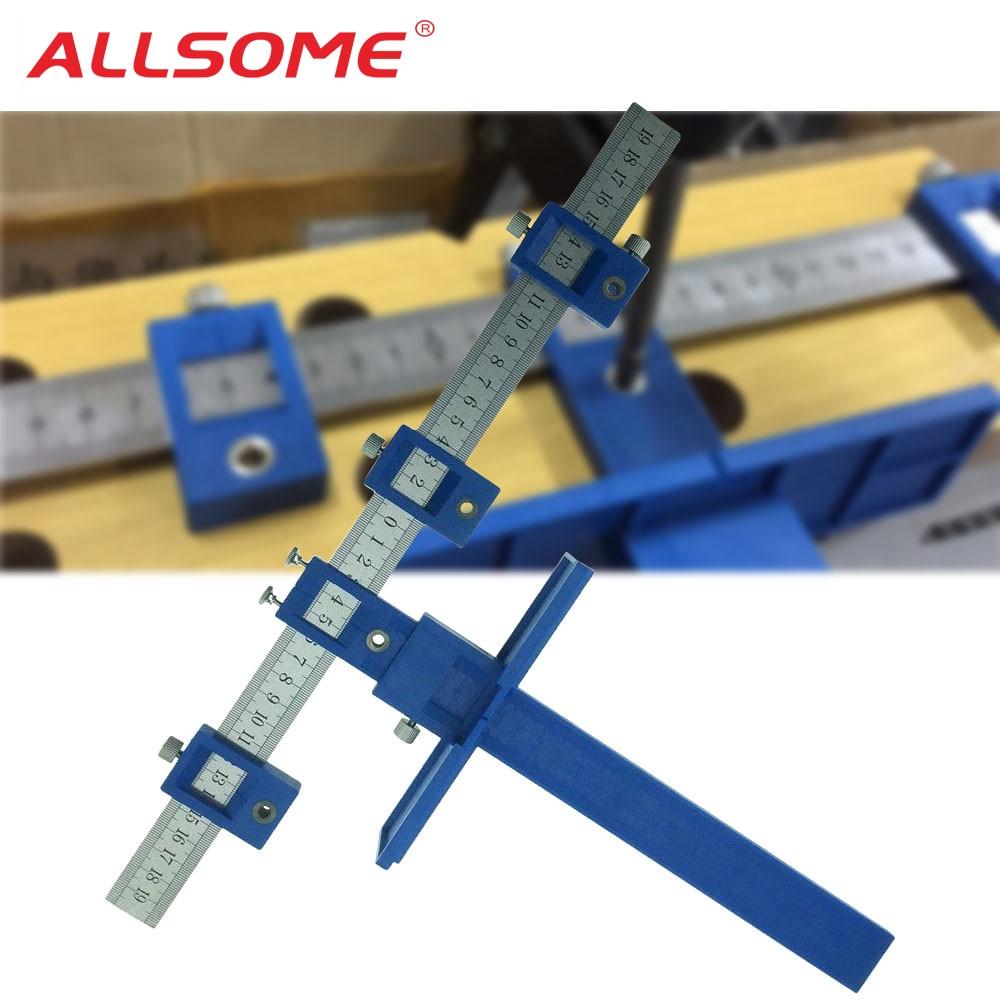 ALLSOME guía de broca de manga de Hardware del Gabinete plantilla cajón Plantilla de perforación en madera Dowelling agujero VI sistema maestro HT1436