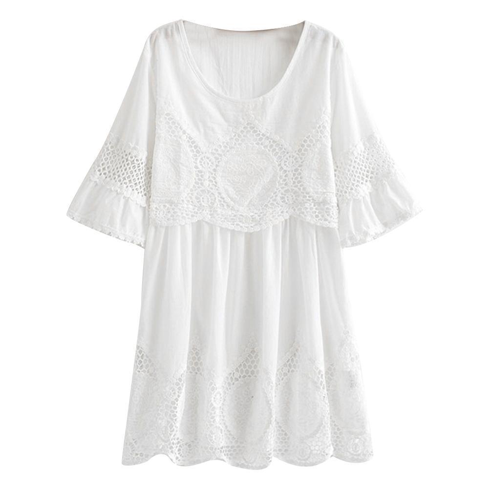 2019 grande taille mode été femmes évider Crochet dentelle demi-coquille col décontracté soirée partie Mini robe blanc