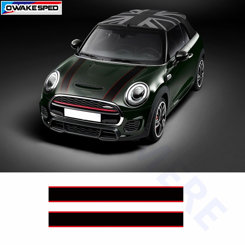 Racing Stripes Sticker Car Styling Hood Body Decor Decal For MINI Cooper S Countryman Clubman Paceman R56 R60 R61 F54 F55 F56