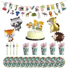 Jungle Animals  Decoration Cartoon Balloons Happy Cake Topper Paper Cup Tray Straw Birthday Party Kids Favorite